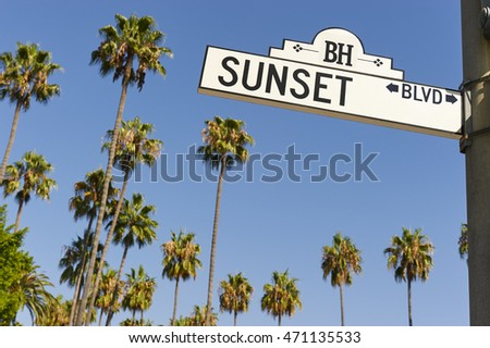 Sunset Boulevard street sign with palm trees in the background. Photo stock ©
