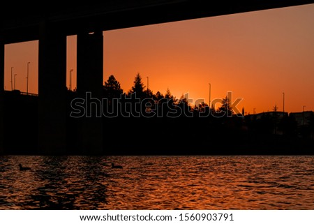sunset, bridge and lake skyline colors