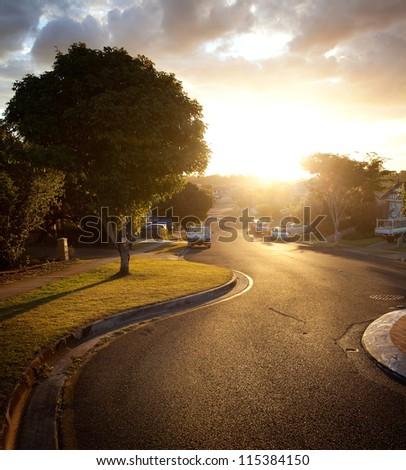 Sunset, Brisbane city streets