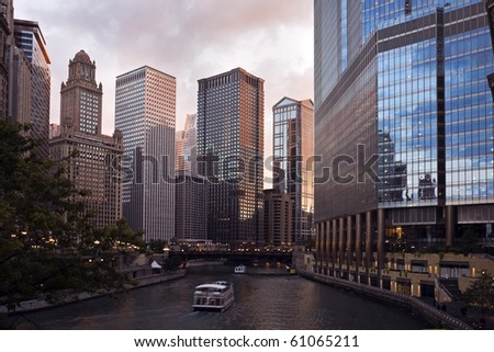 Sunset by Chicago River in downtown Chicago.