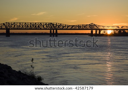 Sunset by Mississippi river - Memphis, Tennessee.