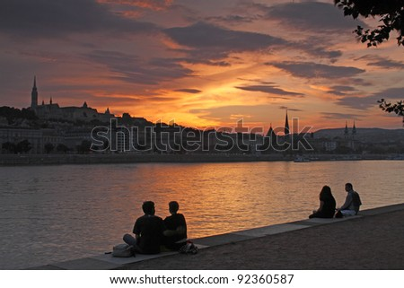 Sunset by the River Danube in Budapest in Hungary in Eastern Europe