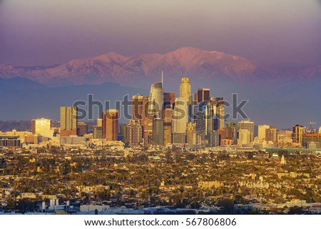 Sunset classical view of Los Angeles Downtown at Kenneth State Park #567806806