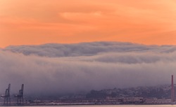 sunset cloud covered golden SanFrancisco city