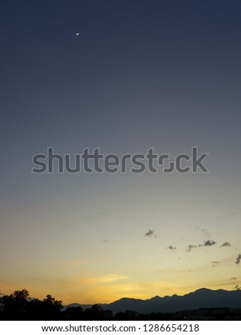 sunset clouds sky background and landscape country view #1286654218