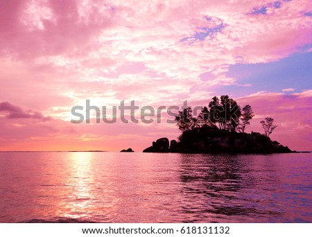 sunset coast sea