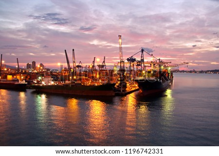 Sunset. Colorful views of the coast, cities and ports of Turkey with moored sea vessels at sunset. #1196742331