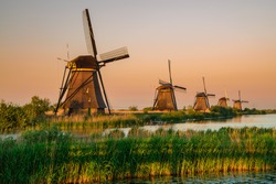Sunset colors and the old windmills at Kinderdijk, Holland
