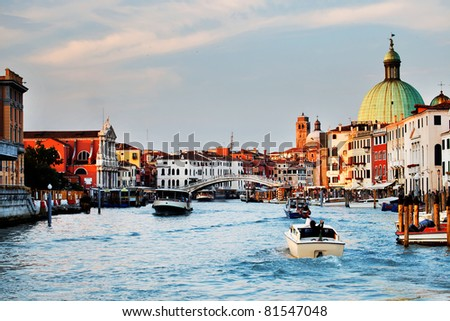 Sunset colors over Grand Canal, Venice, Iyaly
