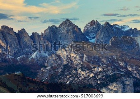 Sunset colours over Odle Group Mountains, Dolomites, Italy, Europe - Shutterstock ID 517003699
