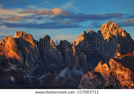 Sunset colours over Odle Group Mountains, Dolomites, Italy, Europe #517003711