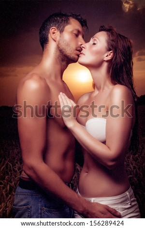 sunset couple sexy kissing love