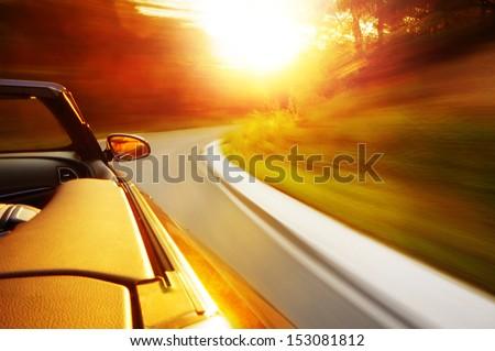 "stock photo sunset drive 153081812 - Каталог - Фотообои ""Автомобили"""