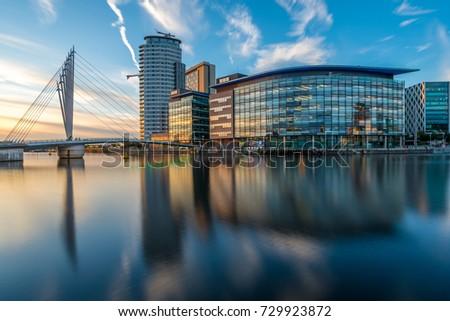 Sunset Evening Media City Salford Quays