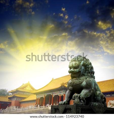 Sunset Forbidden City Lions