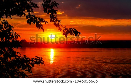 Sunset forest river sky landscape. River sunset sun view. Sunset river water landscape