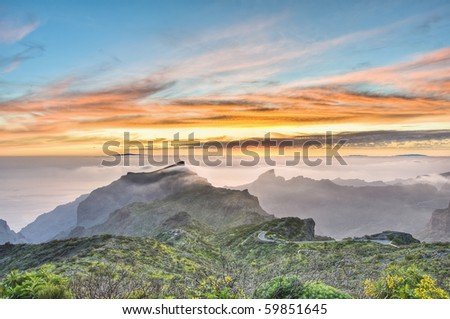 Sunset from Cherfe panoramic lookout located at Tenerife Island.