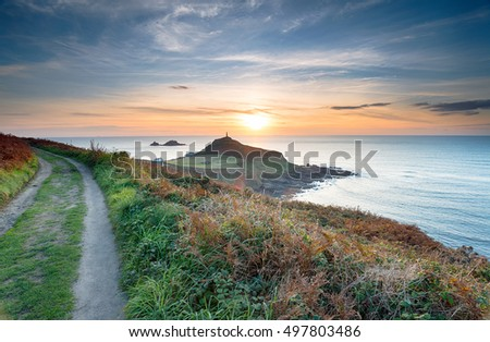 Sunset from the South West Coast Path at Cape Cornwall near Land's End #497803486