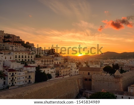 Sunset from the viewpoint of the ancient city of Dalt Vila in Ibiza,Balearic, Spain #1545834989