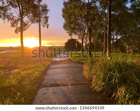 Sunset glistening a path