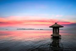 sunset glow in the beautiful hangzhou west lake,China