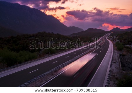 Sunset Highway With Truck