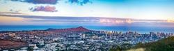 Sunset Honolulu Downtown, Oahu, Hawaii, USA - Panorama
