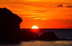 Sunset horizon sea water landscape. Sunset sea horizon panorama. Orange sunset sea horizon view at sunset