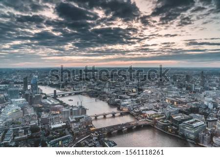 Sunset iew of Blackfriars, millennium, southwark bridge on Thames river from the top of Shard