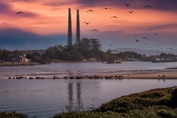 Sunset image of Moss Landing Harbor and natural gas power plant, with harbor seals and seagulls on a protected beach,along the Monterey Bay of central California.