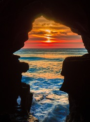 sunset in a cave of hercules in tanjer morroco