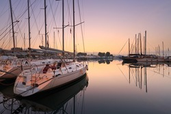 Sunset in Alimos marina in Athens, Greece.