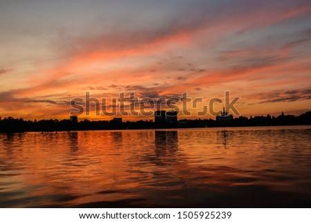 Sunset in amazing park in Bucarest, Romania Foto stock ©