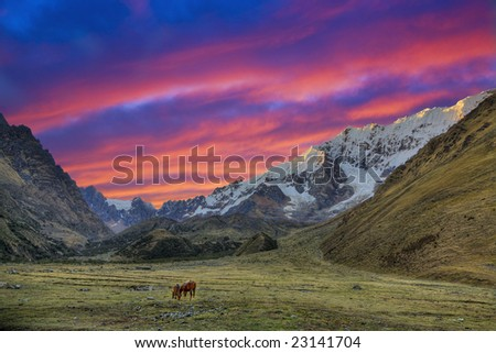 Sunset in Andean mountains