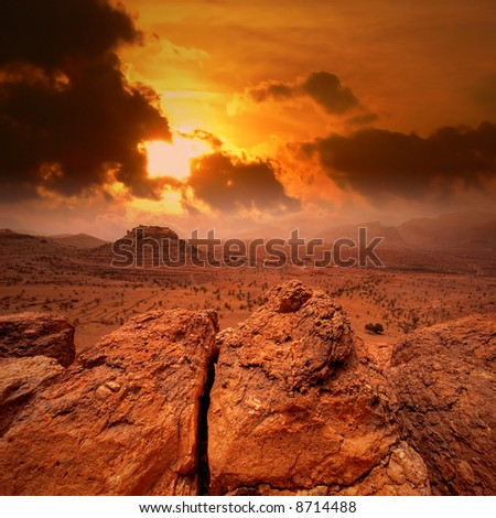 Sunset in Atlas mountains, Morocco