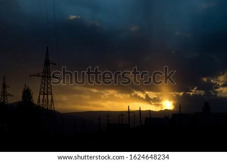 Sunset in Balykchy town Aliev street