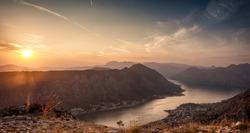 Sunset in Boka Kotorska panorama from Top of Kotor