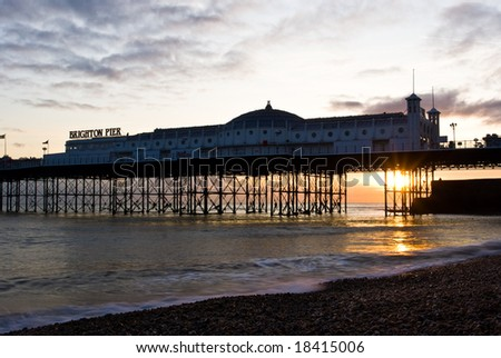 Sunset in Brighton, Susses, UK. Brighton Pier.