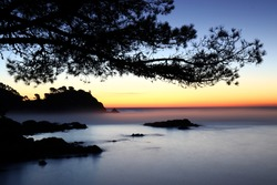Sunset in Cala S'Alguer. Costa Brava. Girona Spain