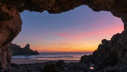 Sunset in Cave, Petit Port, Guernsey