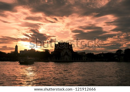 sunset in Chao Phraya river