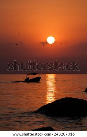 Sunset in Crimea. Black sea.Sunset over sea.Sunset sky.Crimea sunset sky.Sunset scenery.Sunset and the sea.Sunset black sea.Crimean sunset.Crimean summer.Sunset sea scenery.Seascape and boat.Seascape.