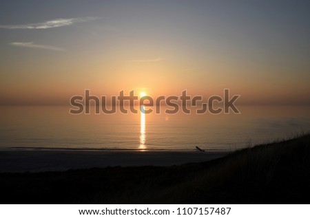 Sunset in front of the North Sea island Sylt