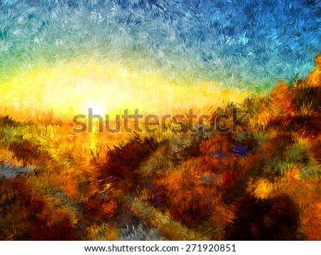 sunset in greece, modern art, oil painting, pastel painting, pencil painting, artistic draw, nature impressionism, hard brush style, relief paint, romantic view, love mood, colorful bright art