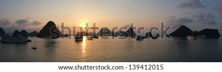 Sunset in Halong Bay, Vietnam, Southeast Asia