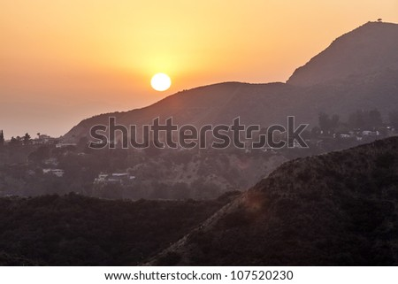 sunset in hollywood mountains