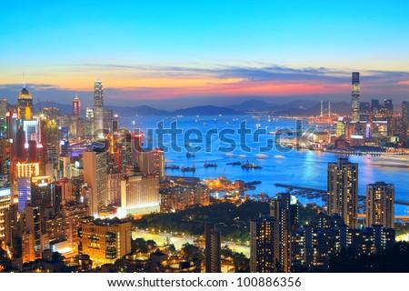 sunset in hong kong city