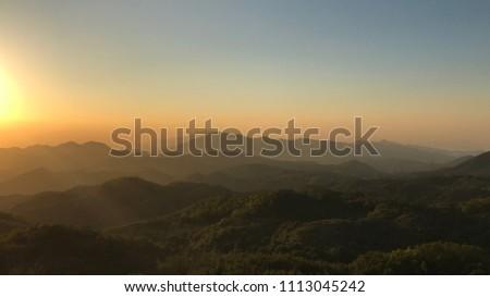Sunset in Hong Kong, Ma On Shan, Evening, Mountain Stok fotoğraf ©