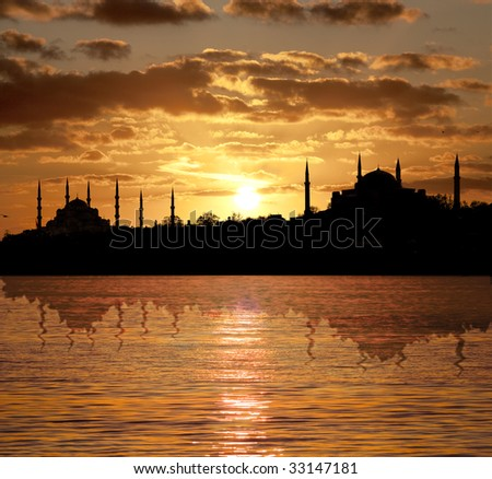 Sunset in Istanbul silhouette with Blue Mosque and The Hagia Sophia