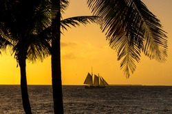 Sunset in Keywest with a Sailboat
